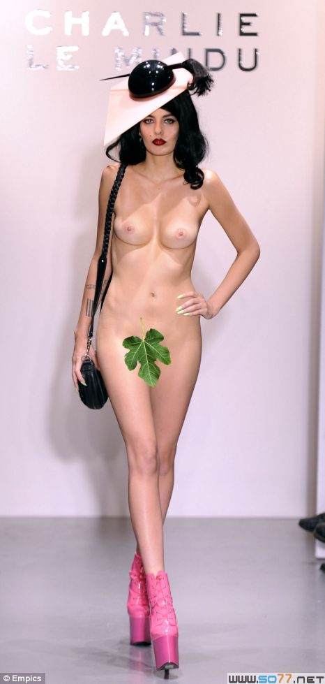 Naked Charlie Le Mindu model at London Fashion Week 2010